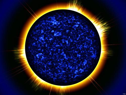 blue sun with corona